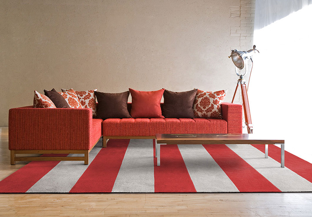 Alicia Rug in Red and Gray Stripes featured in a Modern Decor | Urba Rugs