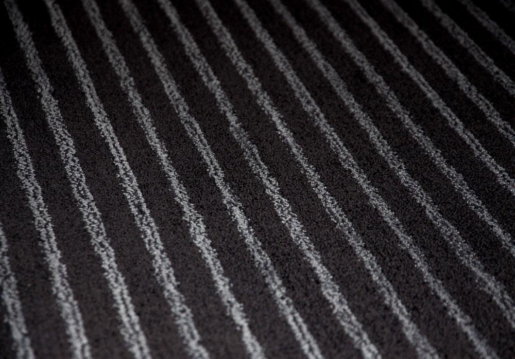 Large Black Striped Rug Made of Linen Yarn | Custom Rug | Urba Rugs