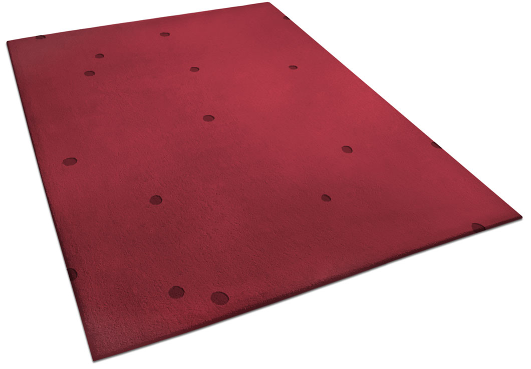 Red Rug made of Wool with Small Hand Carved Circles | Bill | Urba Rugs