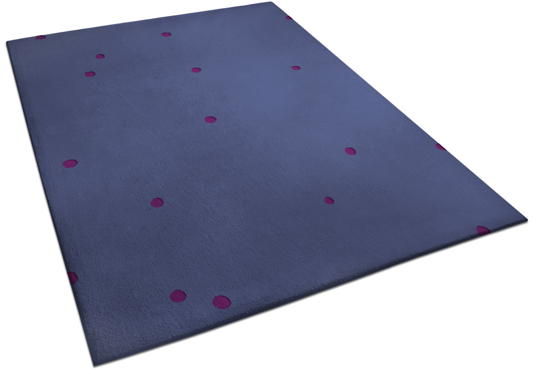 Blue Rug made of Wool with Small Hand Carved Circles | Bill | Urba Rugs