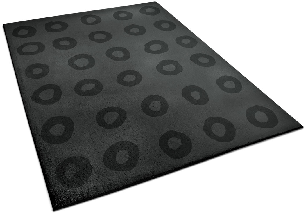 Modern Black Rug With Repeated Circle Pattern | Calvin | Urba Rugs