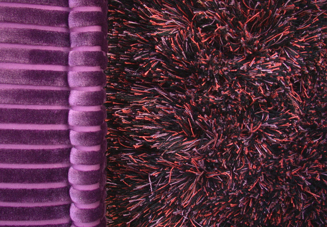 Modern Shag Rug in a Blend of Red Purple and Black, Made of Multi Tones Linen Yarn | Elliot | Urba Rugs