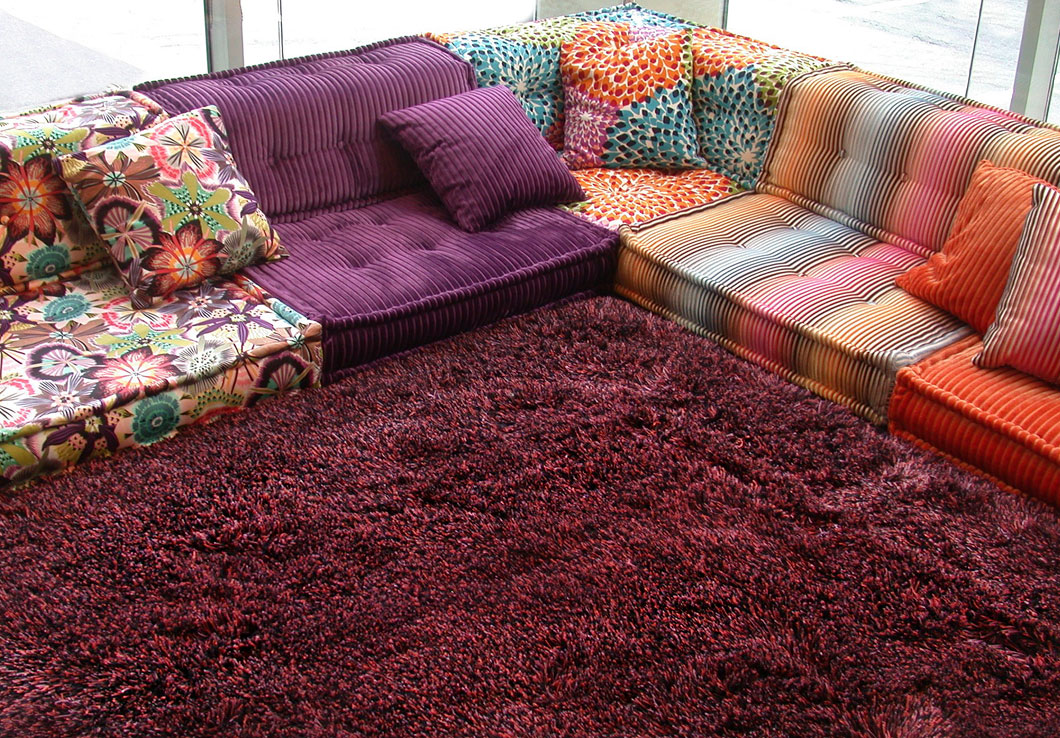 Our Elliot Shag Rug featured with the Iconic Mah Jong Sofa by Roche Bobois | Urba Rugs