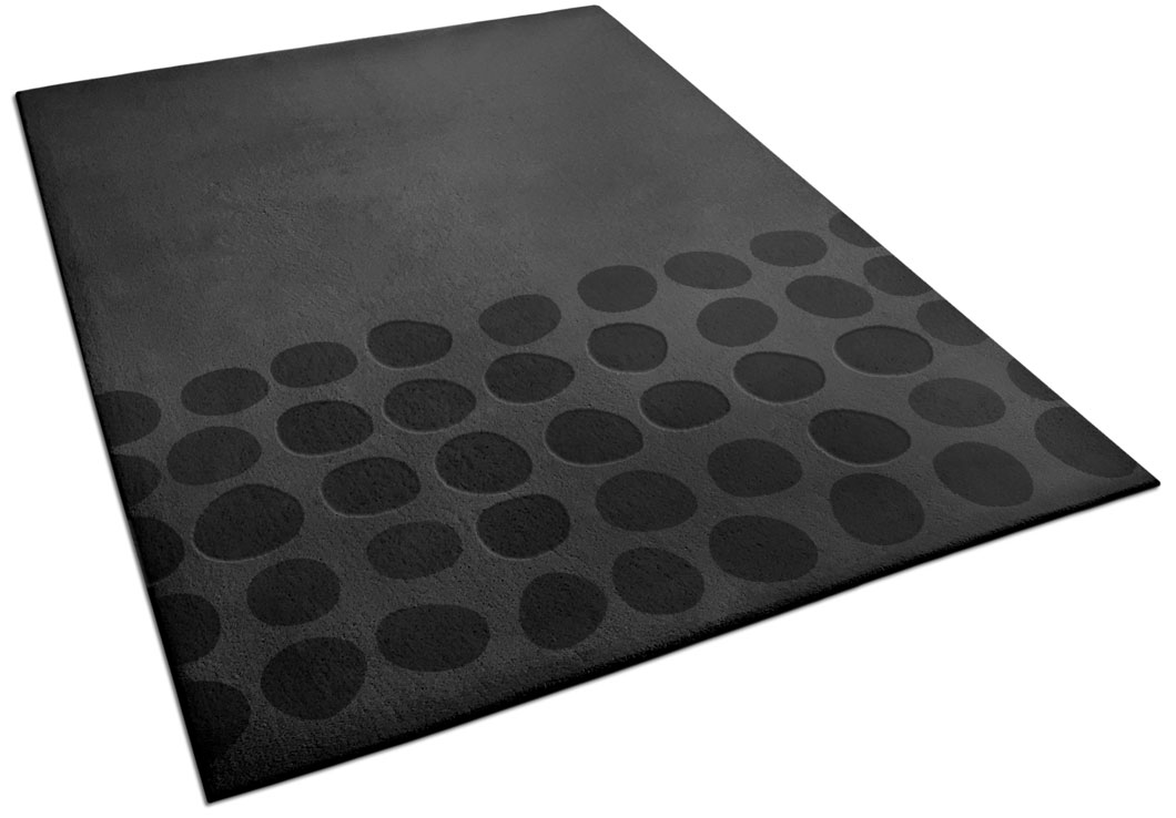 Modern Black Area Rug with Pebble Pattern | Fred | Urba Rugs