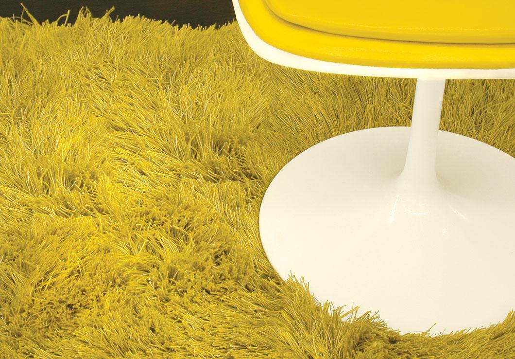 Luxurious Shag Rug Made of 100% Yellow Linen Yarn | Greg | Urba Rugs