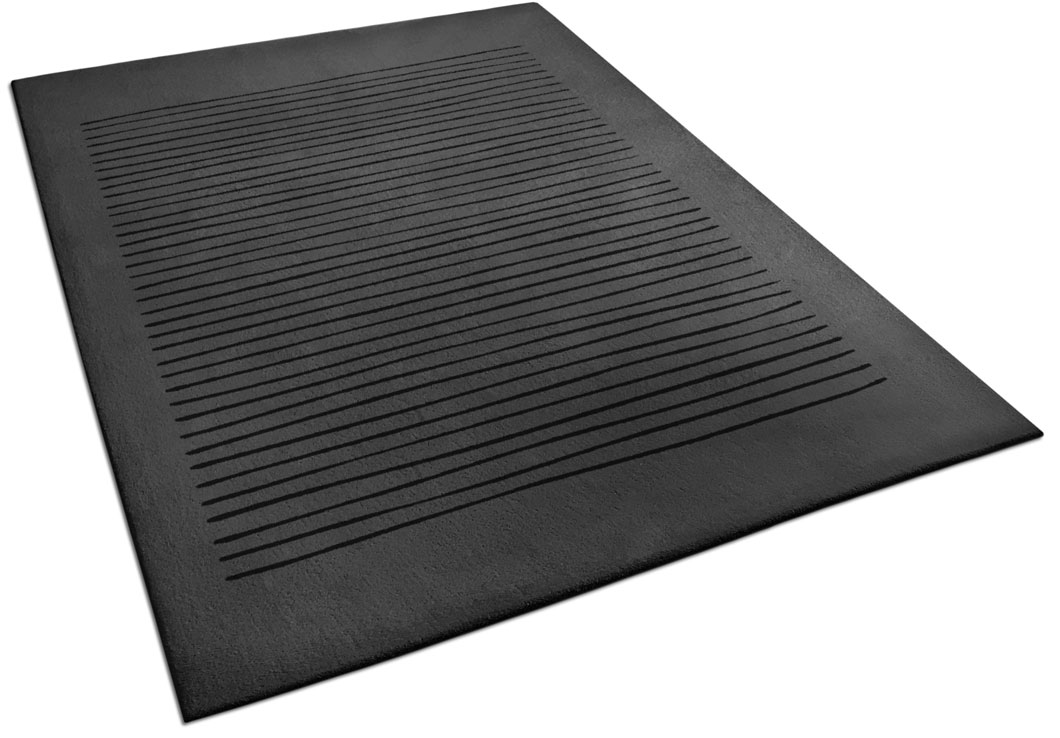 Black Area Rug with Hand Drawn Line Pattern   Harry   Urba Rugs