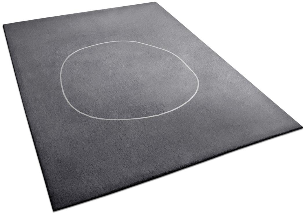 Dark Gray Rug with Minimalist Circle Design | Urba Rugs