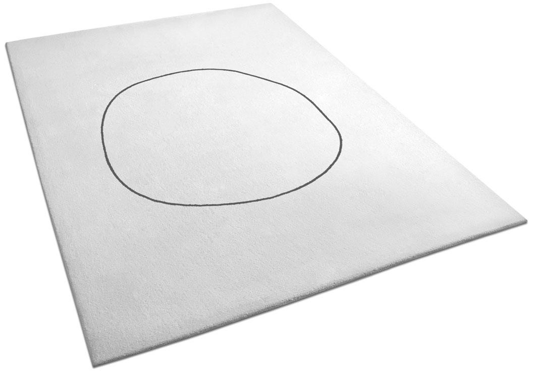 Minimalist Rug | Outlined Circle on Cream Background | Leo | Urba Rugs