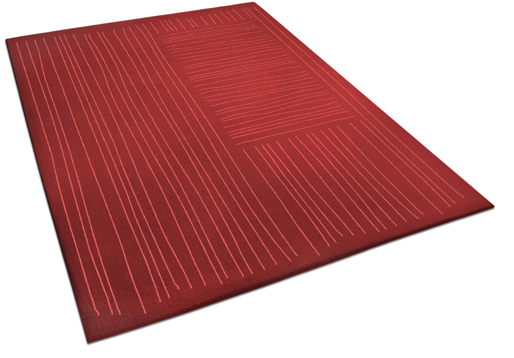 Red Area Rug with Perpendicular Freehand Stripes | Sonia | Urba Rugs