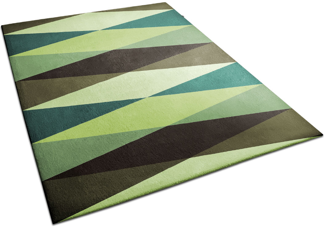 Green Rug with Diamond Pattern | Victor | Urba Rugs