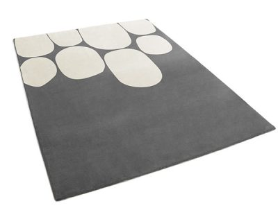 Modern Gray Rug with Large Cream Pebble Pattern | Damien | Urba Rugs