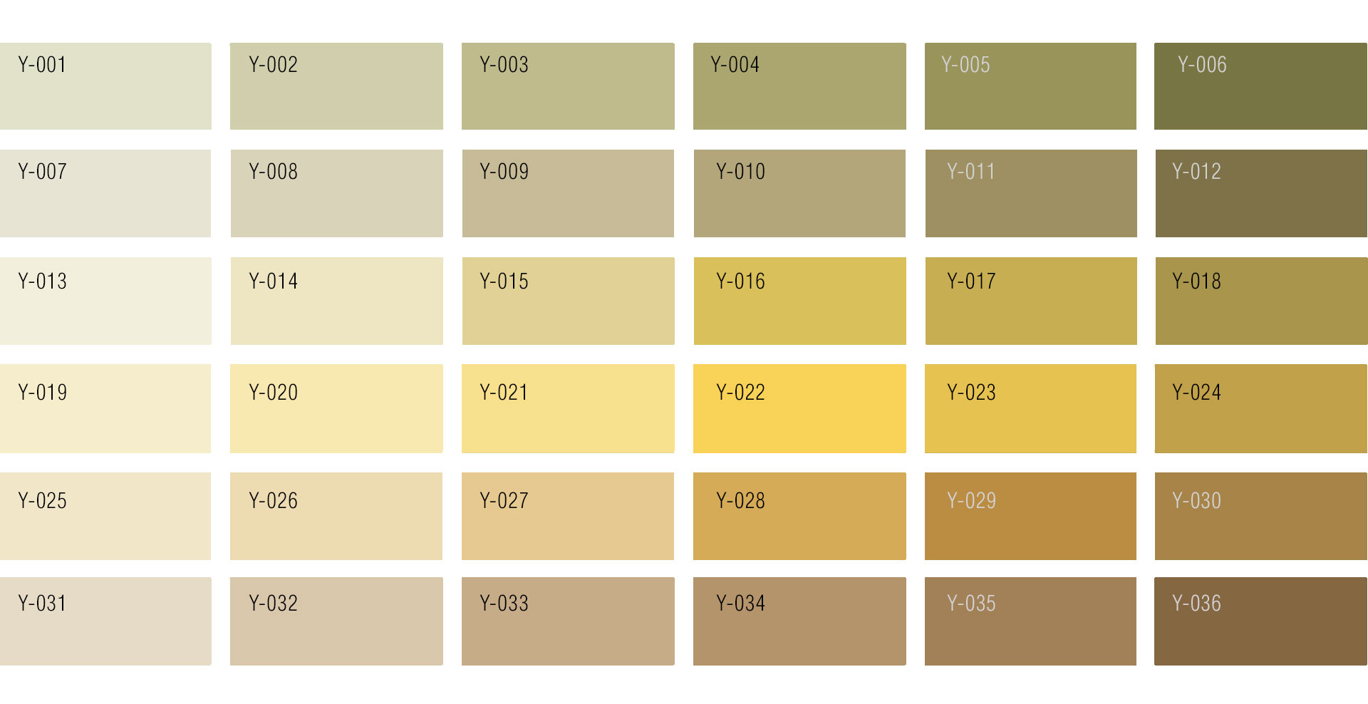 Shades of Yellow Colour Chart | Custom Rug service by Urba Rugs