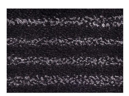 Close-View of our Antoine Rug, a Black and Gray Striped Rug Made of Wool and Linen Yarns | Antoine | Urba Rugs