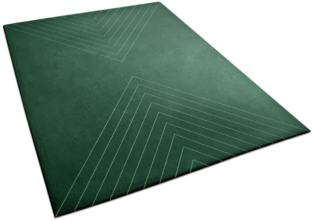 Green Forest Rug with Repetitive Triangle Line Pattern | Axel | Urba Rugs
