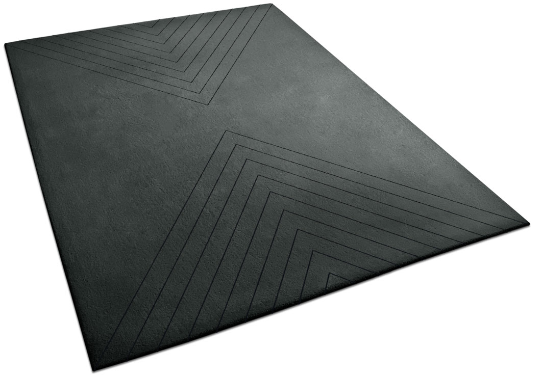 A Black Rug with Repetitive Triangle Lines on Both End | Axel | Urba Rugs