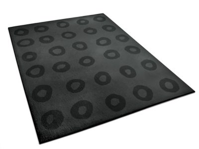 Calvin, a black area rug with circles pattern | Urba Rugs