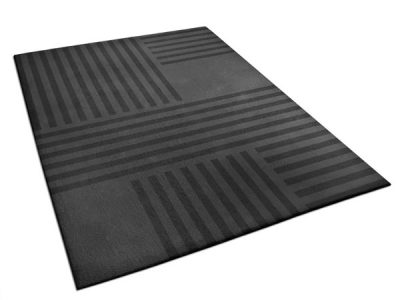 Dark gray rug with striped pattern | Clement rug, 100% New Zealand wool | Urba Rugs