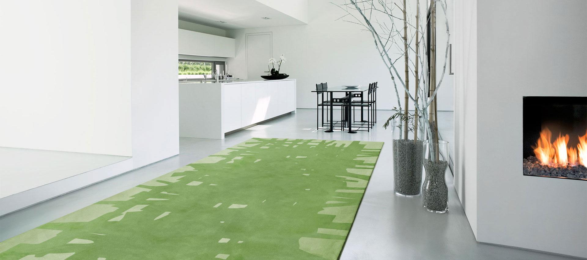 Edgar Rug in Green in a Contemporary Space   Edgar   Urba Rugs