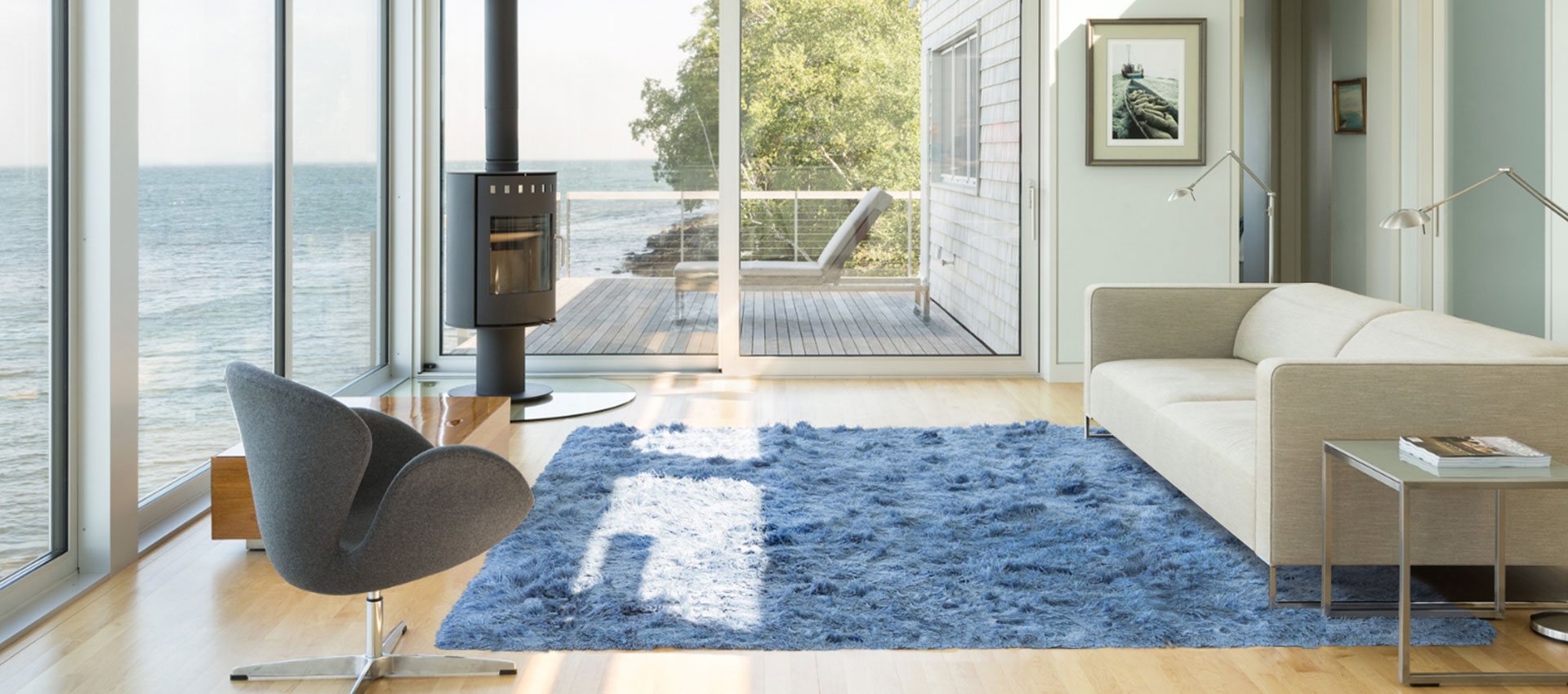 Luxurious Long-Pile Rug Made of 100% Blue Linen Yarn | Greg | Urba Rugs