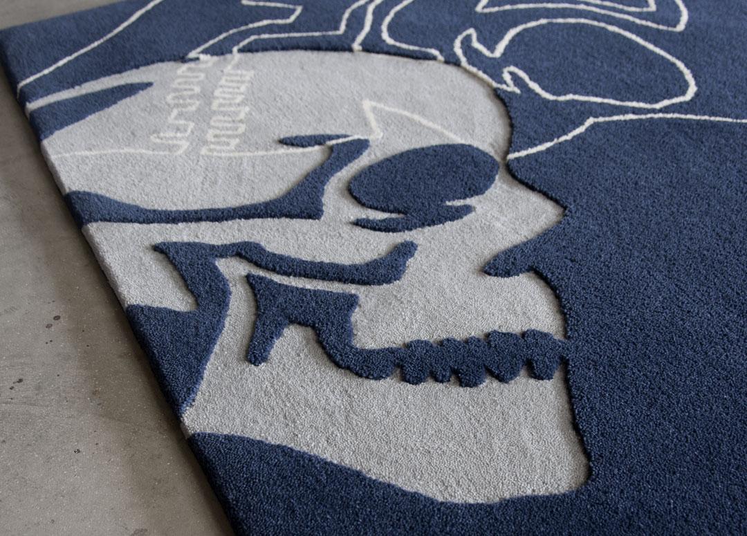 Hand Carved Skull Rug in Blue | Custom rug Ontario | Urba Rugs Canada