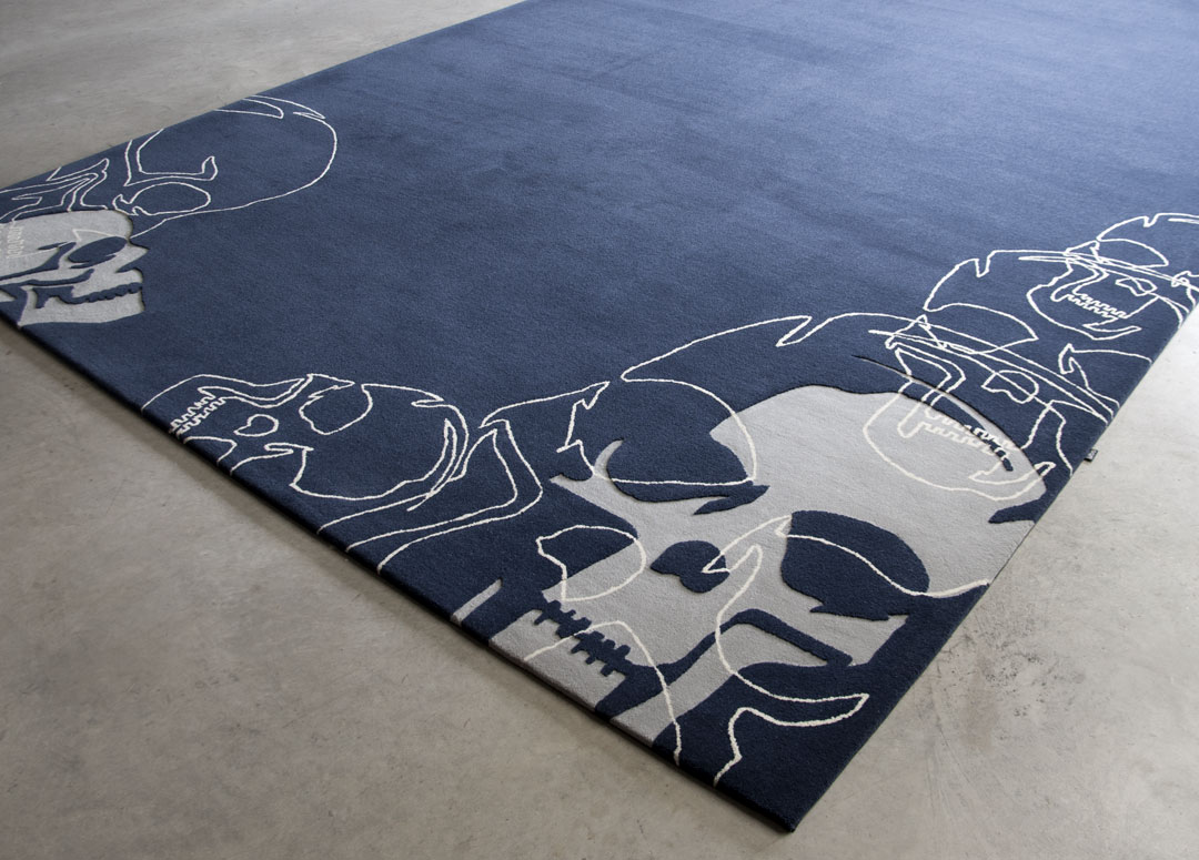 Blue Rug with hand carved skull pattern | Custom Rug Toronto | Urba Rugs Canada