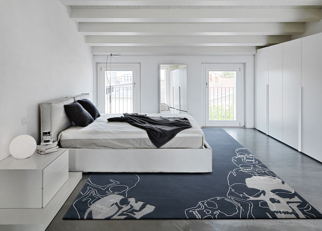 Skull Rug in Blue, Gray and White, in a modern bedroom | Custom Project Toronto | Urba Rugs Canada