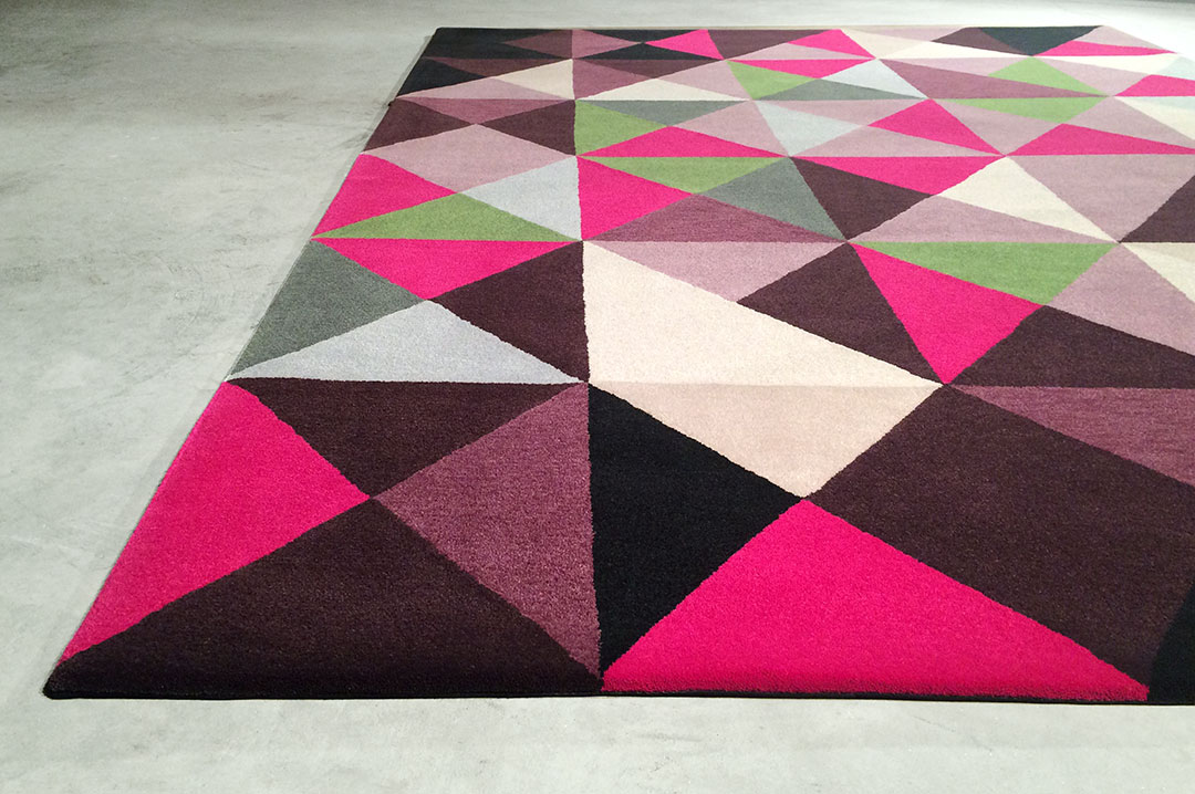Geometric Rug with Multicoloured Triangles | Custom Office Rug | Urba Rugs Canada