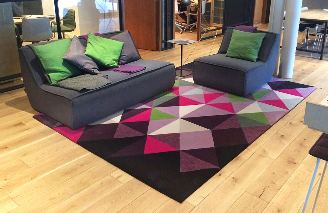 Geometric Rug with Multicoloured Triangles | Custom Corporate Rug | Urba Rugs
