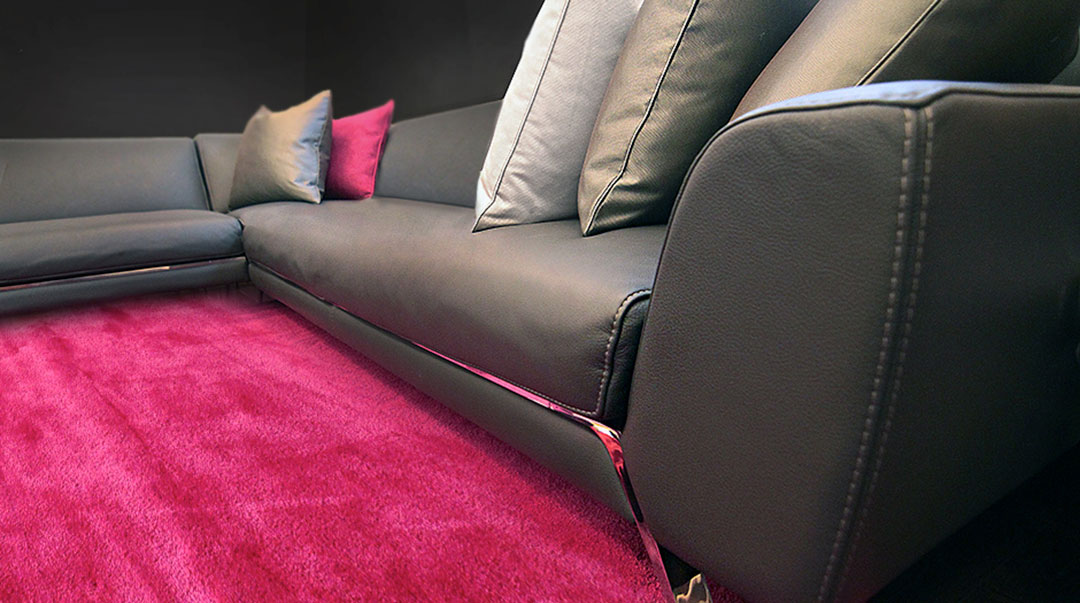 Metallic Rug in Pink for a Modern Home Theatre Room | Custom Rug | Urba Rugs Canada