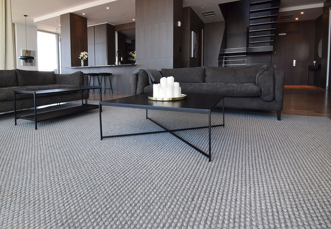 Large Woven Rug in a Luxurious Modern Penthouse Montreal | Custom Rug | Urba Rugs Canada