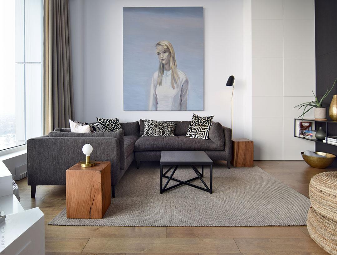 Hand Woven Area Rug in a Modern Living Room | Custom Rug Montreal | Urba Rugs Canada