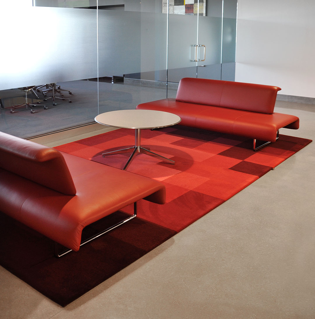 Pixel Rug made of Multiple Shades of Red | Commercial Custom Project | Urba Rugs