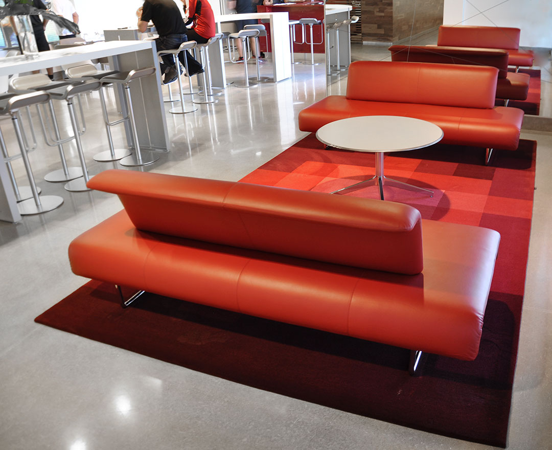 Pixel Rug made of Multiple Shades of Red | Custom Rug for Public Space | Urba Rugs
