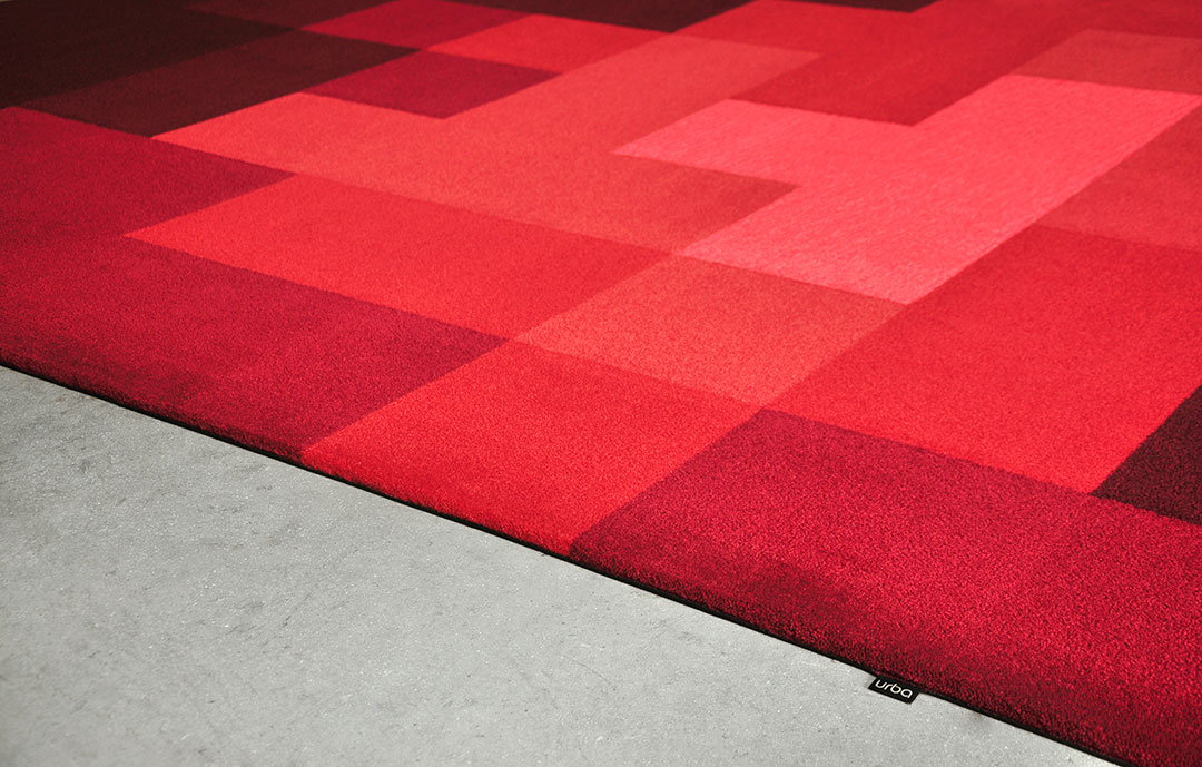 Pixel Rug made of Multiple Shades of Red | Custom Rug Canada| Urba Rugs