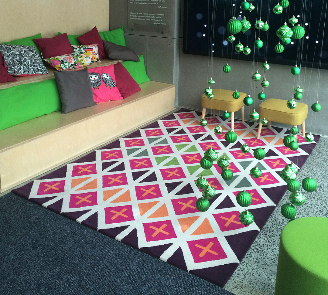 Vibrant Colored Rug with Geometric Pattern | Corporate Reception Rug | Urba Rugs