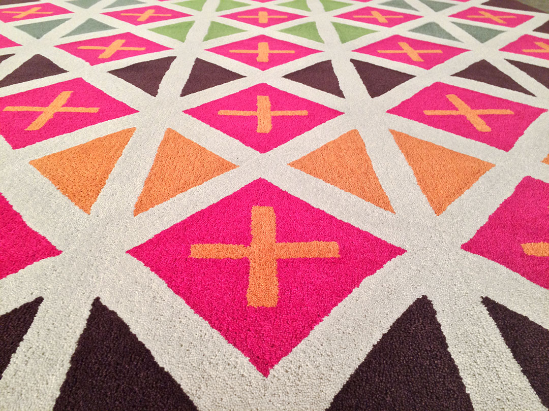 Vibrant Colored Rug with Geometric Pattern for a Lobby | Urba Rugs
