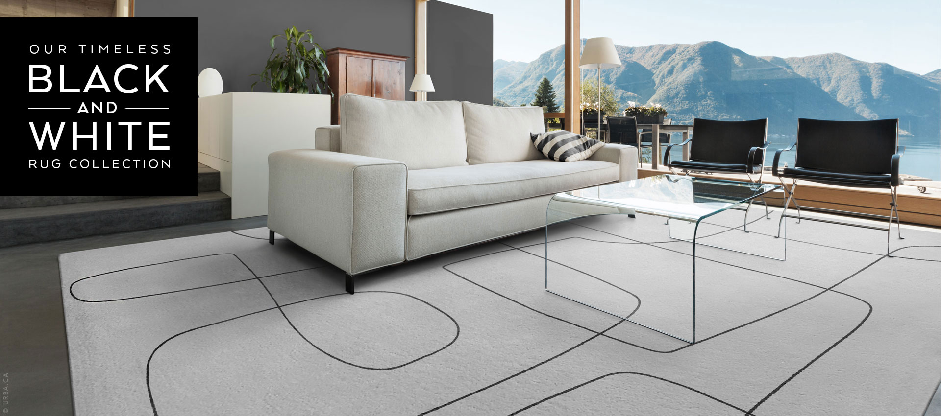 Black and White Modern Rug Collection Made in Canada