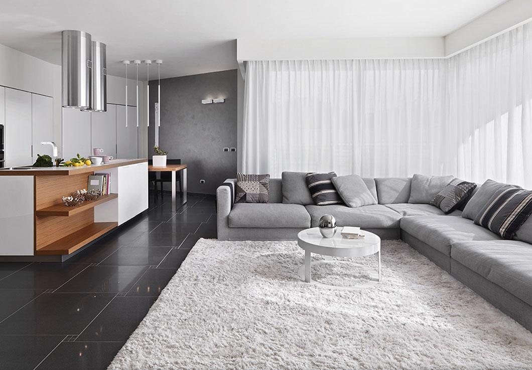 Modern White Shag Rug in a Contemporary Living Room | Amelia | Urba Rugs