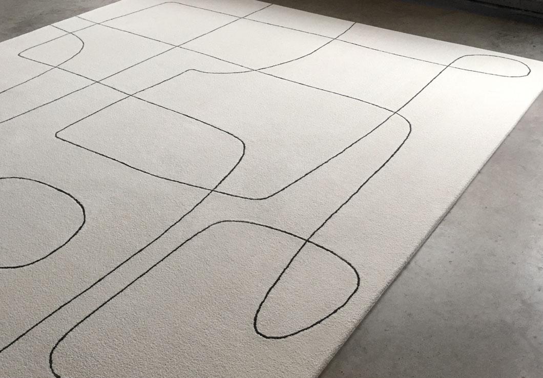 Mid-century Rug Design in White Cream and Black | Urba Rugs