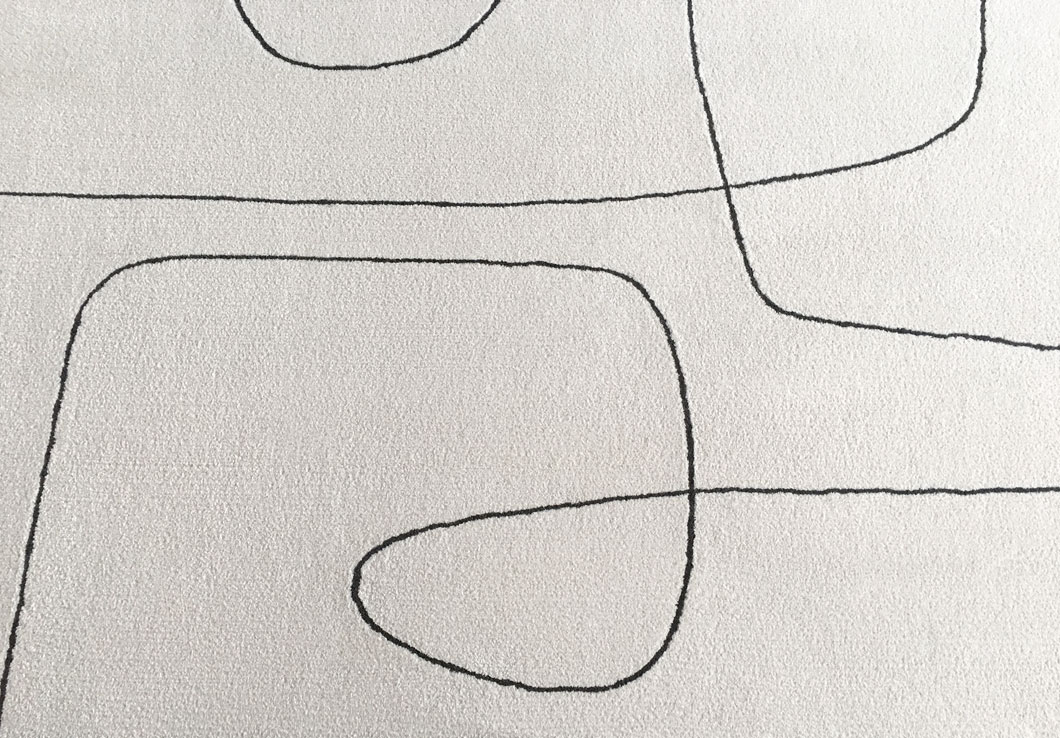 Cream Rug with Black Curvy Lines | Urba Rugs