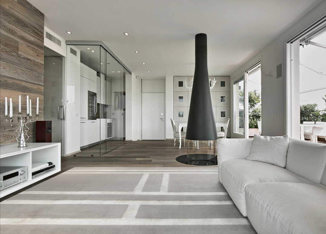 Exquisite Rug in Silver Gray in a Modern Living Room | Custom Rug USA | Urba Rugs