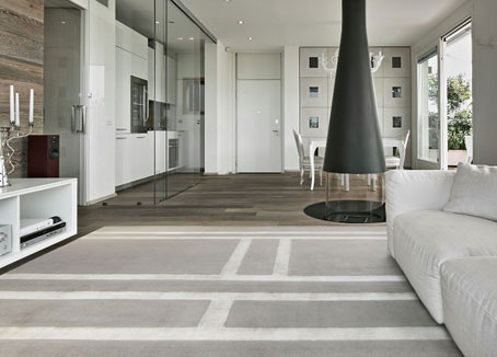 Silver Gray silk rug in a Modern Living Room | Custom Rug | Urba Rugs