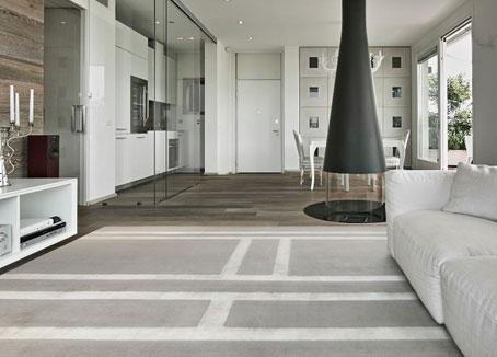 Silver Gray silk rug in a Modern Living Room   Custom Rug   Urba Rugs