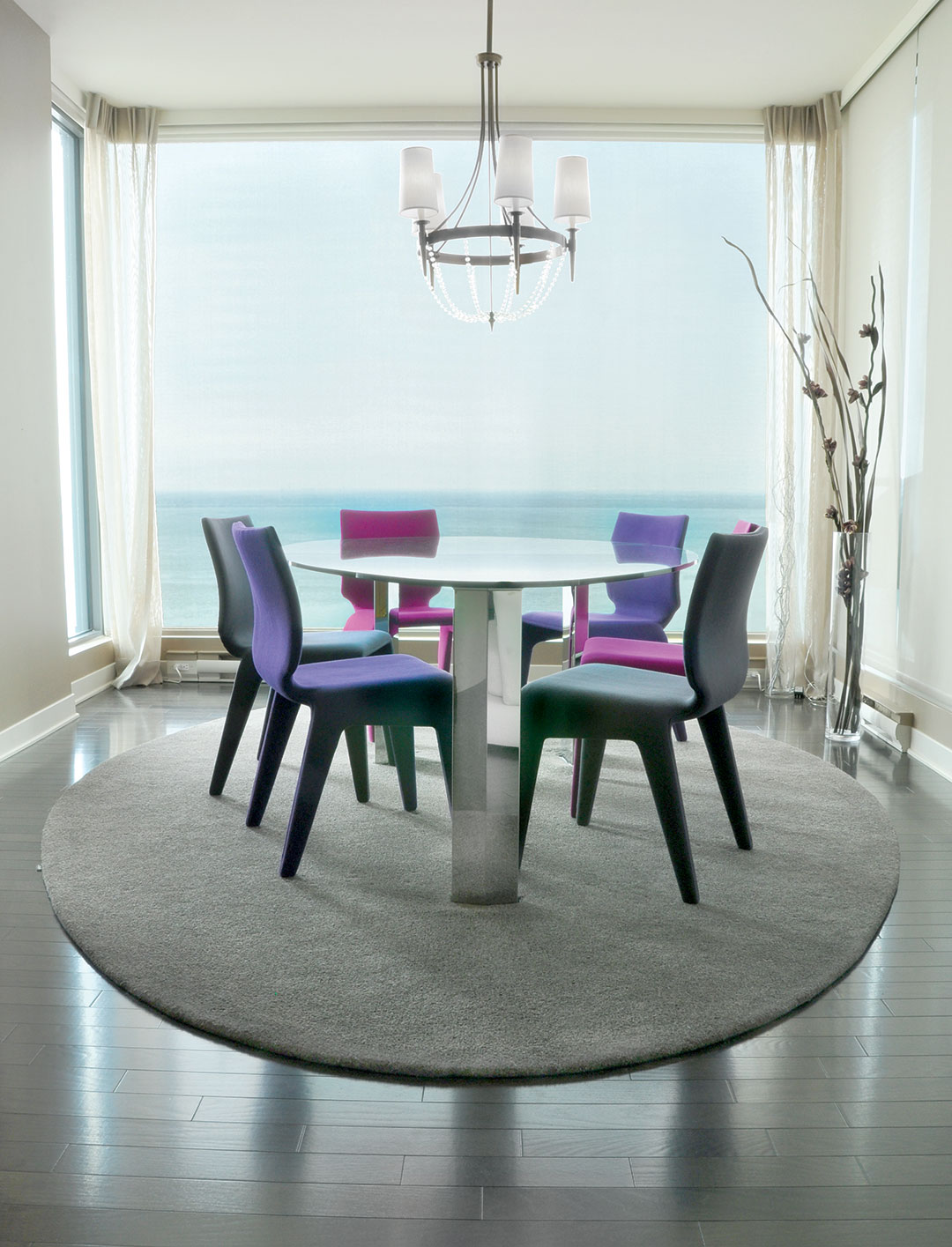 Leaf Shaped Rug in a Modern and Luxury Dinning Room | Custom Rugs | Urba Rugs Canada