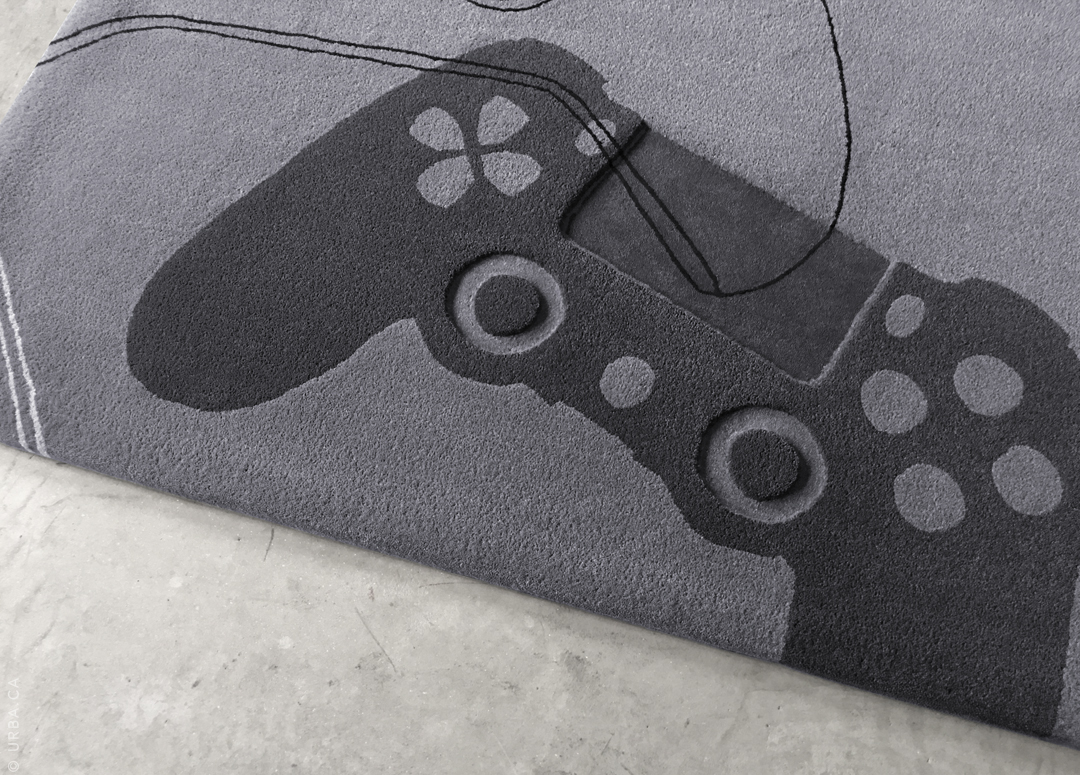 Custom Gray Rug for Game Room with Hand Carved Playstation Controller | Custom Rug Toronto | Urba Rugs Canada