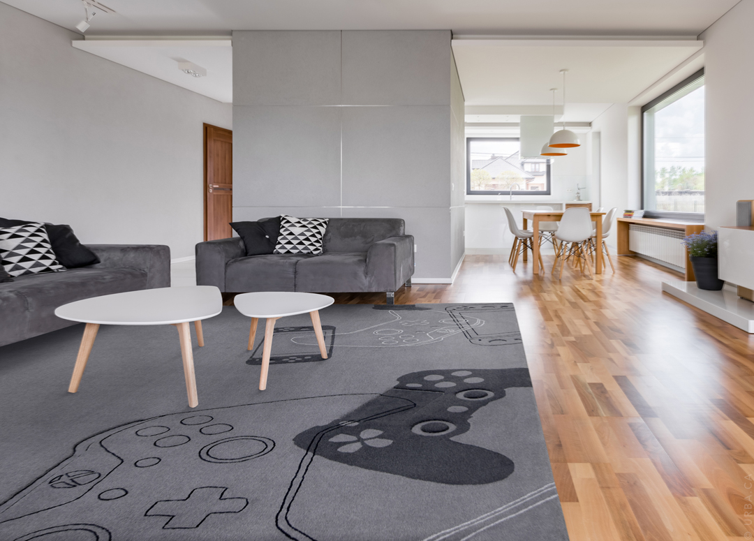 Gamers Rug with Game Controller Pattern in a Modern Living Room | Custom Rugs Toronto | Urba Rugs Canada