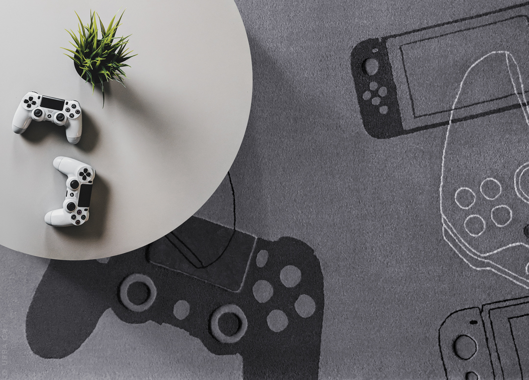 Gamers Rug with Xbox Playstation Nintendo Controllers | Urba Rugs Canada