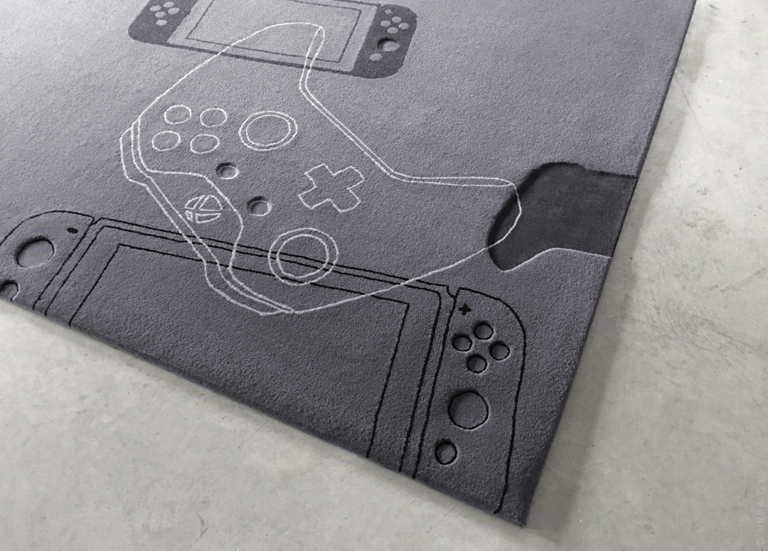 Game Controller Rug with Hand Carved Details | Custom Rug Toronto | Urba Rugs