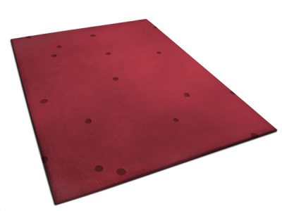 Red Rug made of Wool with Small Hand Carved Circles   Bill   Urba Rugs