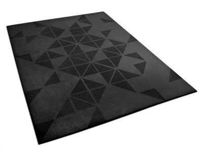 Black Hand-Tufted Rug with Geometric Pattern   Justin   Urba Rugs